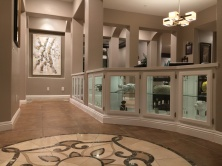White entrance cabinet with beveled glass and quartz top